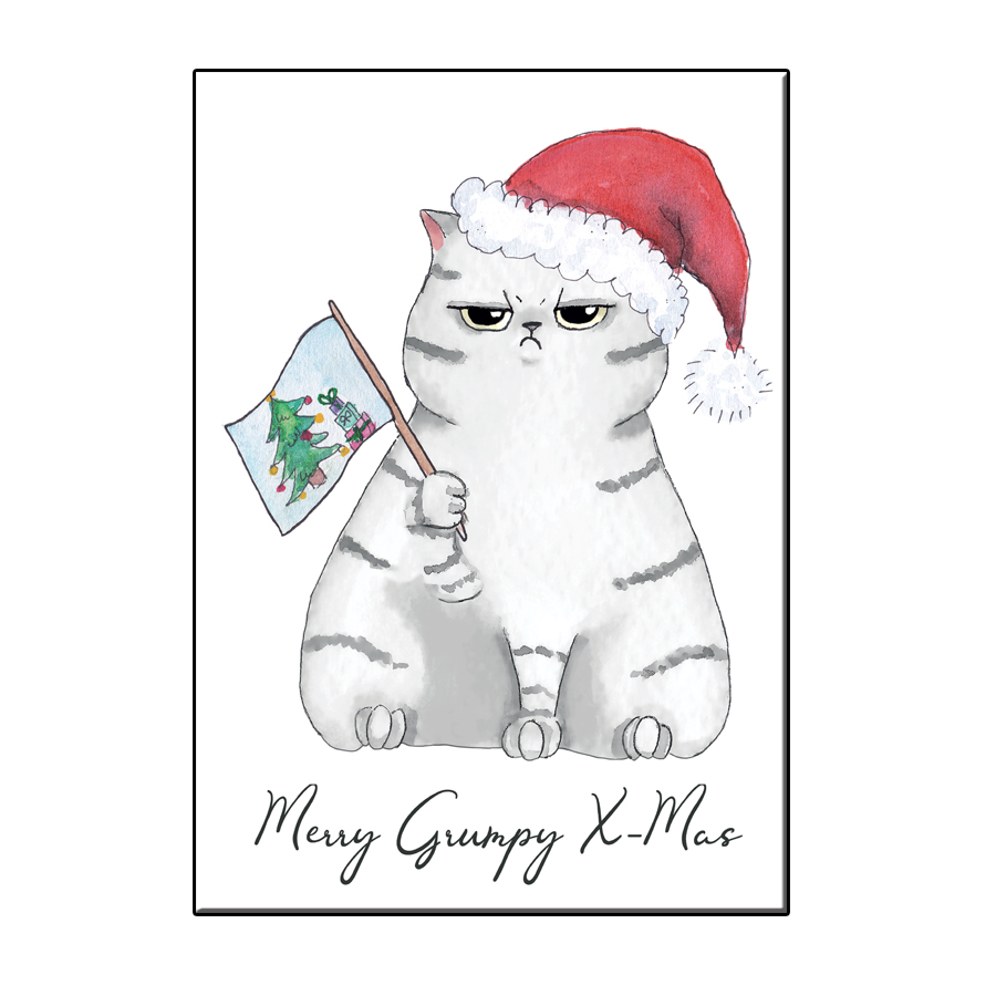 A6 FUN CAT MERRY GRUMPY XMAS CARD