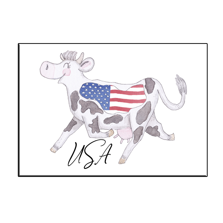A6 CRAZY COW IN USA TEXT CARD
