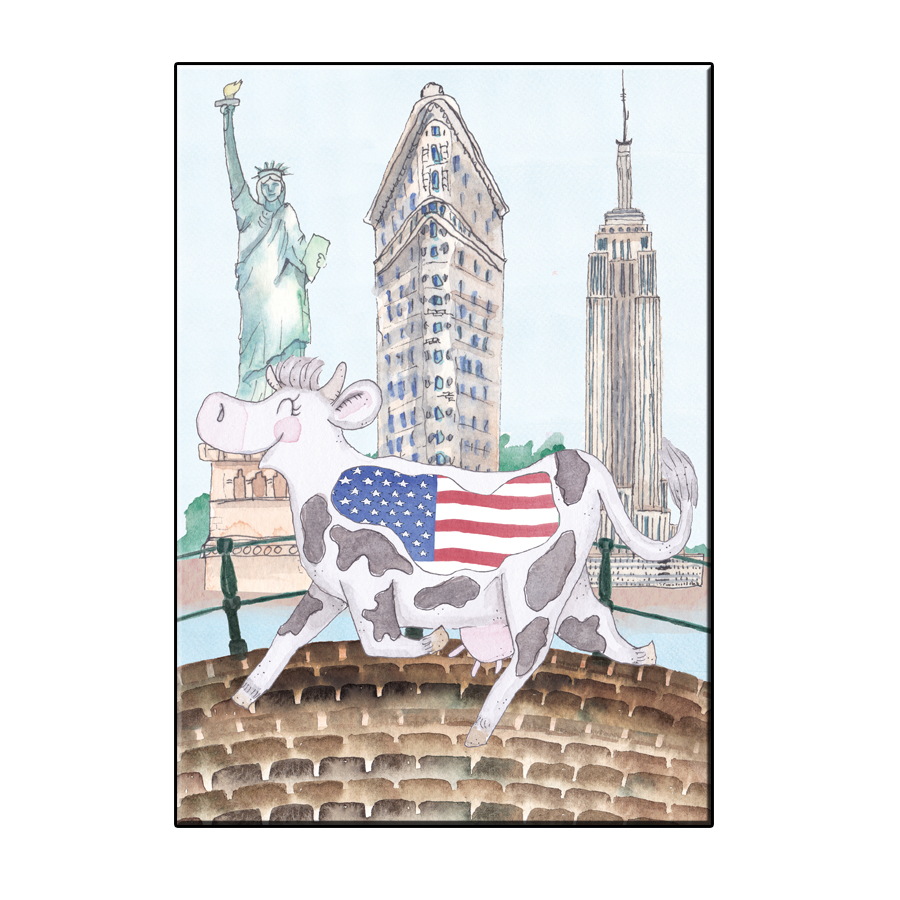 A6 CRAZY COW IN NY CITY CARD