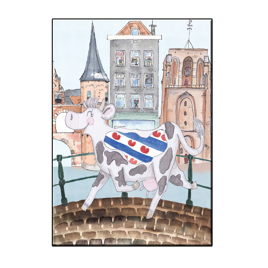A6 CRAZY COW IN FRIESLAND CITIES CARD