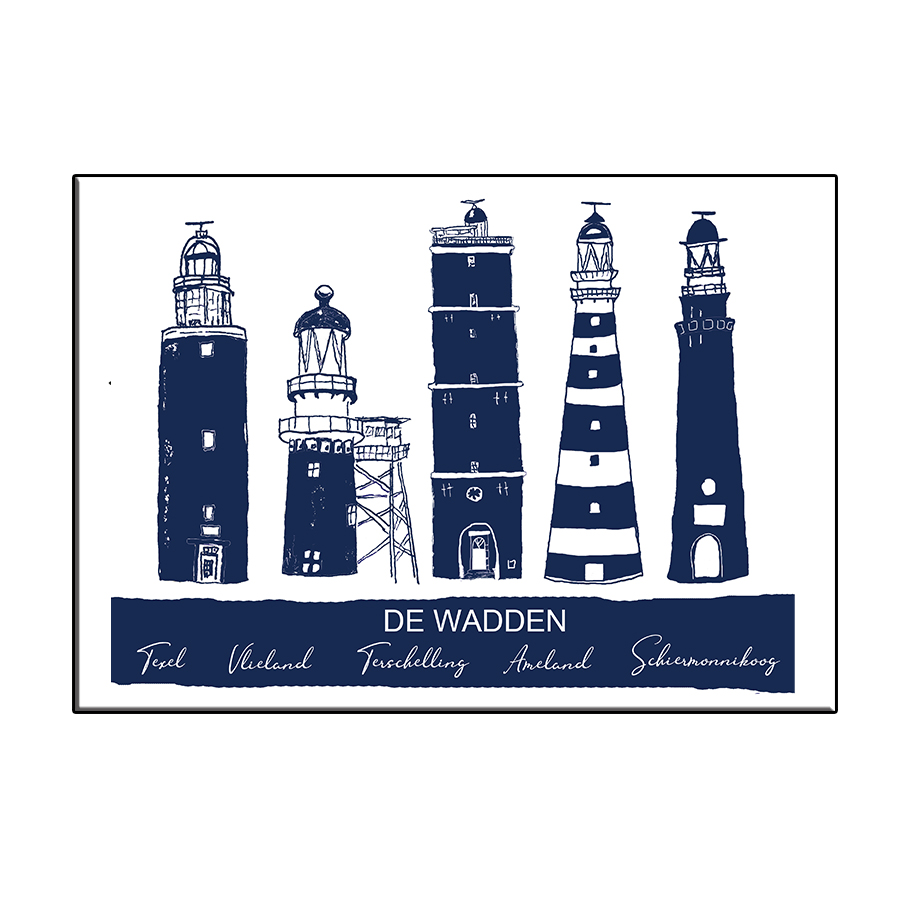 A6 CITY ICON LIGHTHOUSES WADDEN BLUE CARD