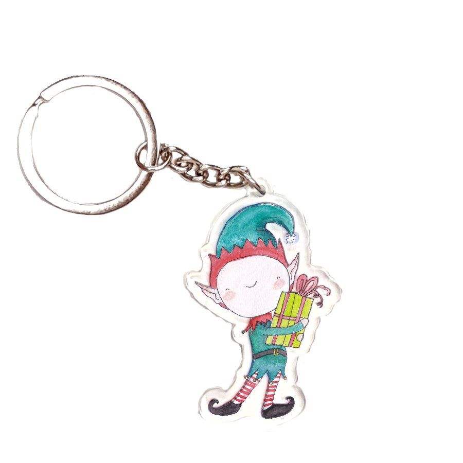 HAPPY XMAS ELF ACRYLIC KEYRING