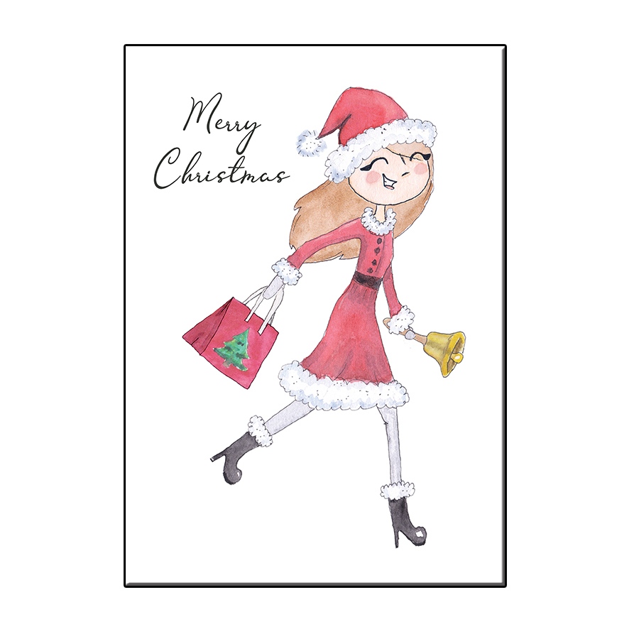 A6 MERRY CHRISTMAS GIRL CARD themes