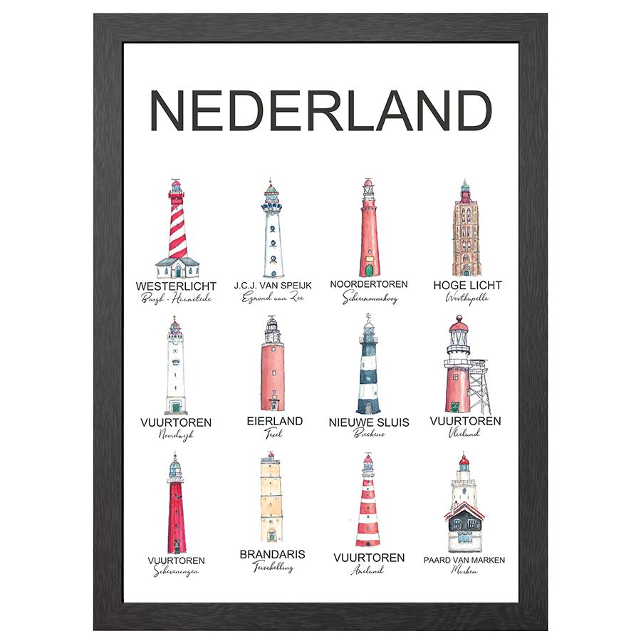 A2 POSTER LIGHTHOUSES THE NETHERLANDS