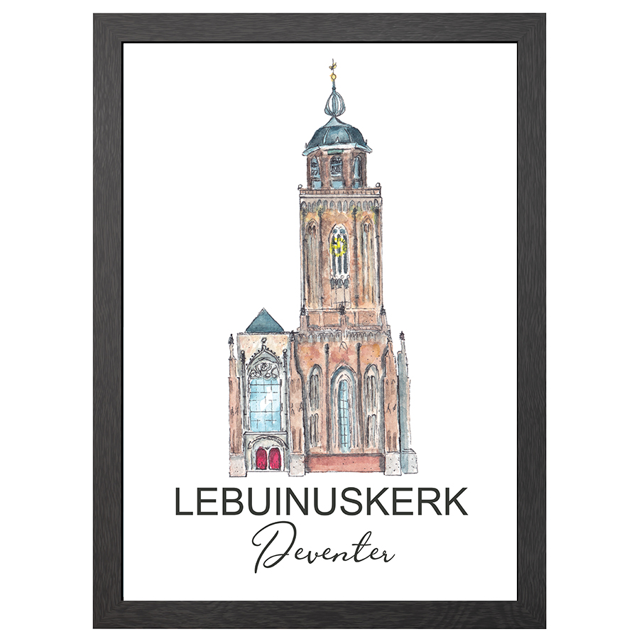 A2 POSTER LEBUINUSKERK DEVENTER WITH ENTRENCE