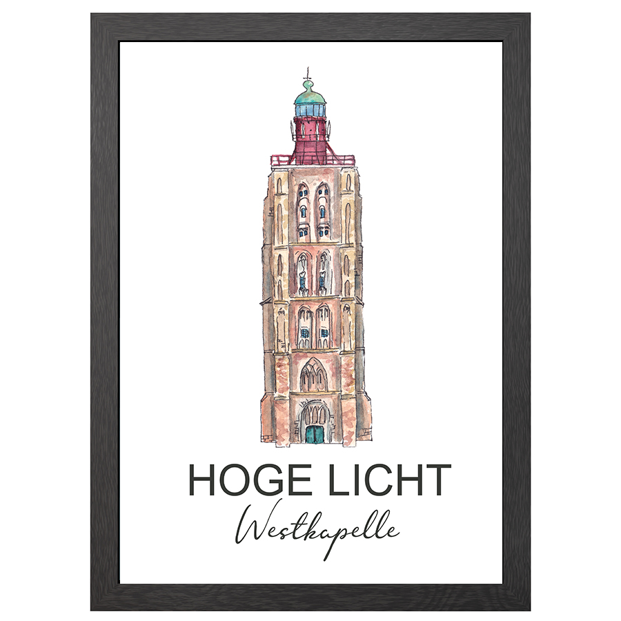 A2 POSTER LIGHTHOUSE HOGE LICHT WESTKAPELLE