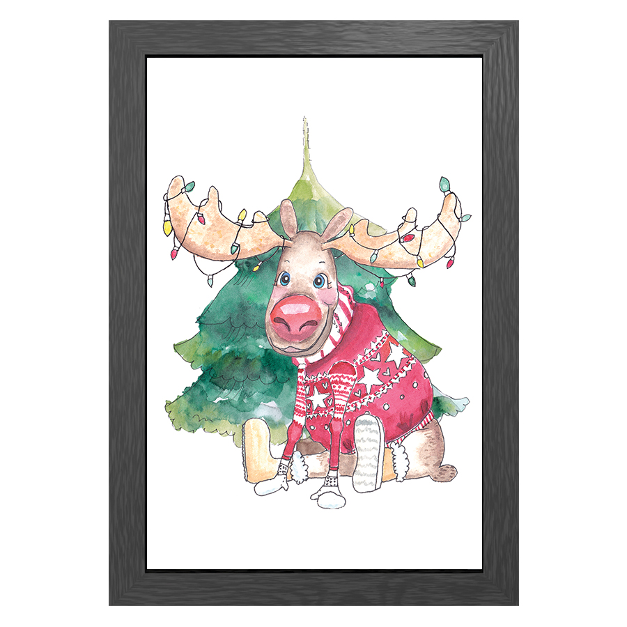 A3 POSTER MOOSE CHRISTMAS IN FRAME