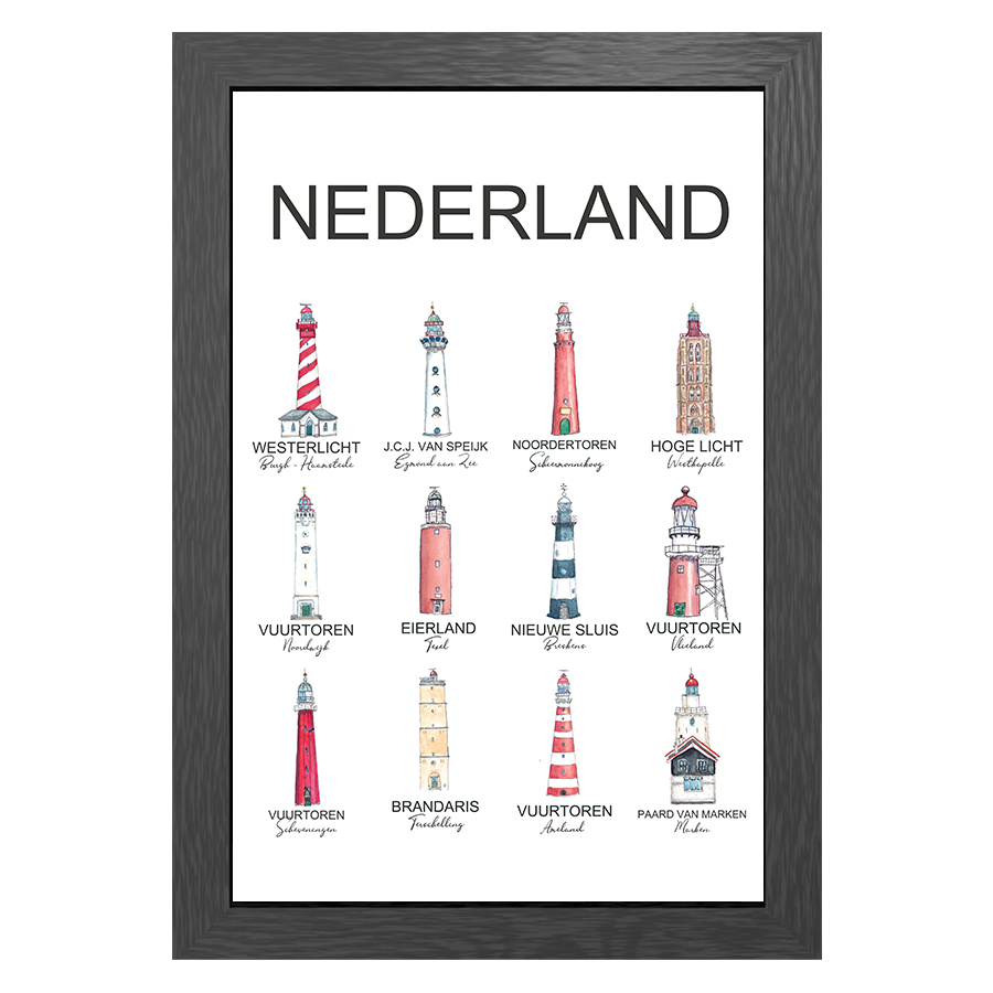 A3 POSTER LIGHTHOUSES THE NETHERLANDS