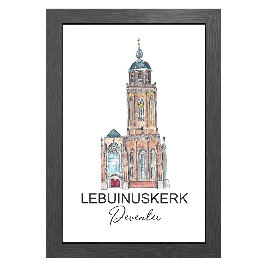 A3 POSTER LEBUINUSKERK DEVENTER WITH ENTRENCE
