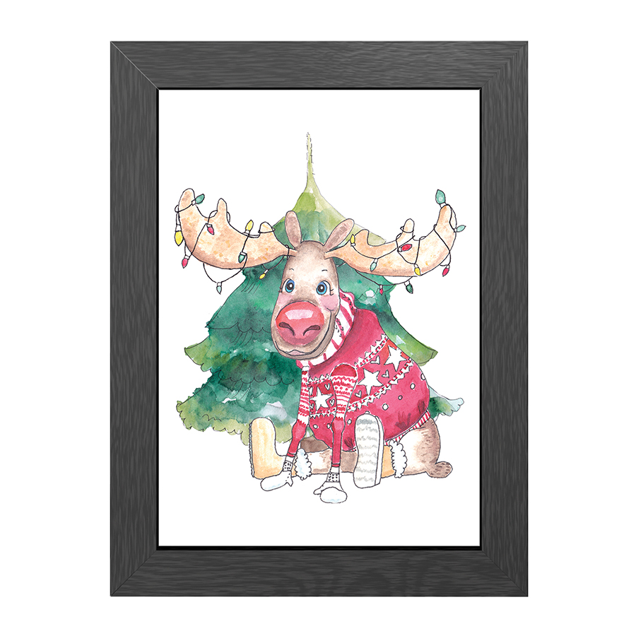 A4 POSTER MOOSE CHRISTMAS