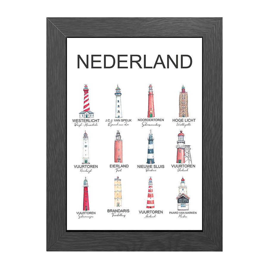 A4 POSTER LIGHTHOUSES THE NETHERLANDS