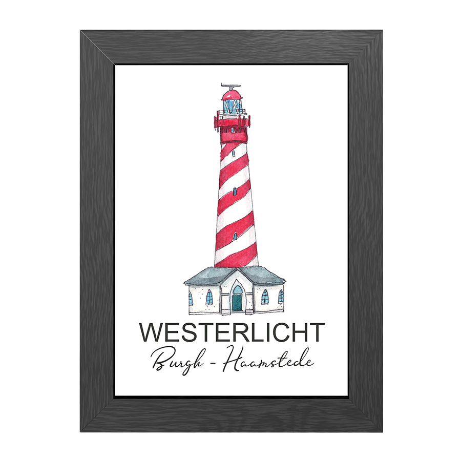 A4 POSTER LIGHTHOUSE WESTERLICHT BURGH-HAAMSTEDE
