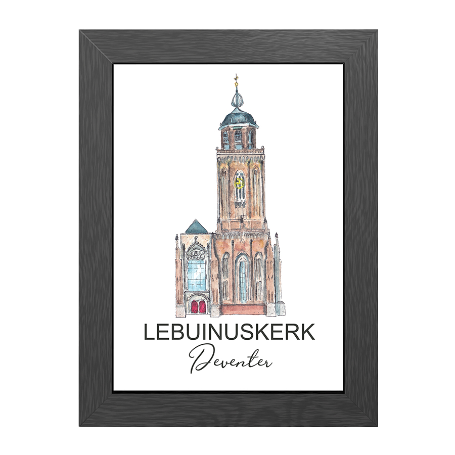 A4 POSTER LEBUINUSKERK DEVENTER WITH ENTRENCE