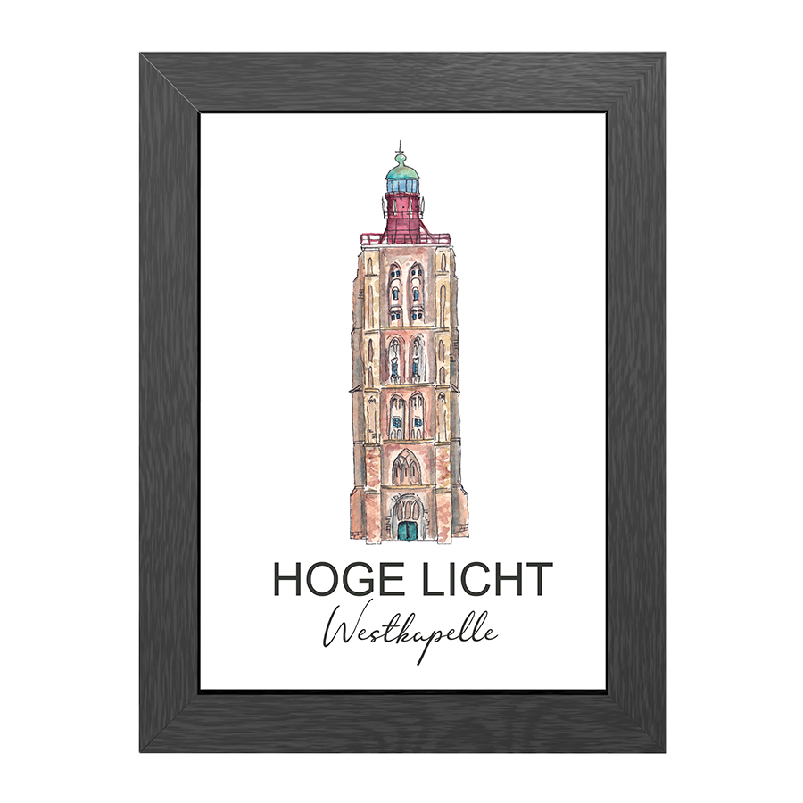 A4 POSTER LIGHTHOUSE HOGE LICHT WESTKAPELLE