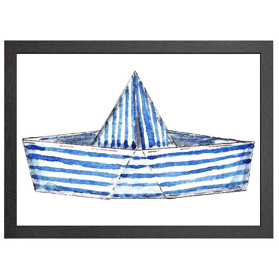 A2 POSTER STRIPED BOAT IN FRAME