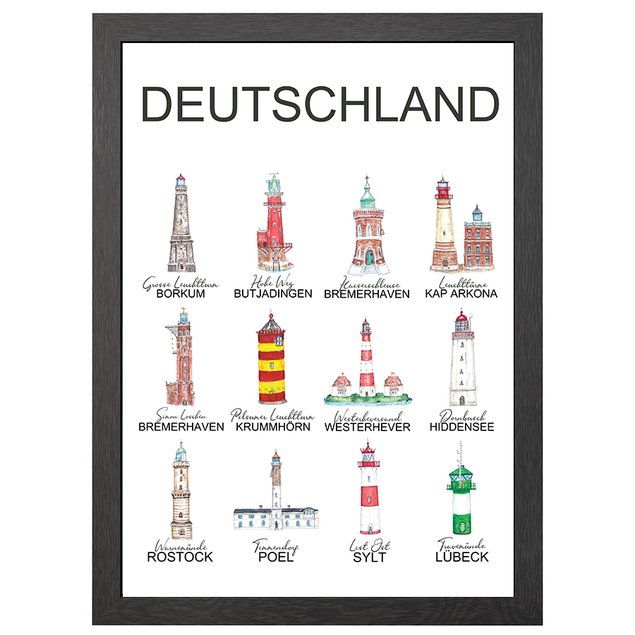 A2 POSTER GERMAN LIGHTHOUSES IN FRAME