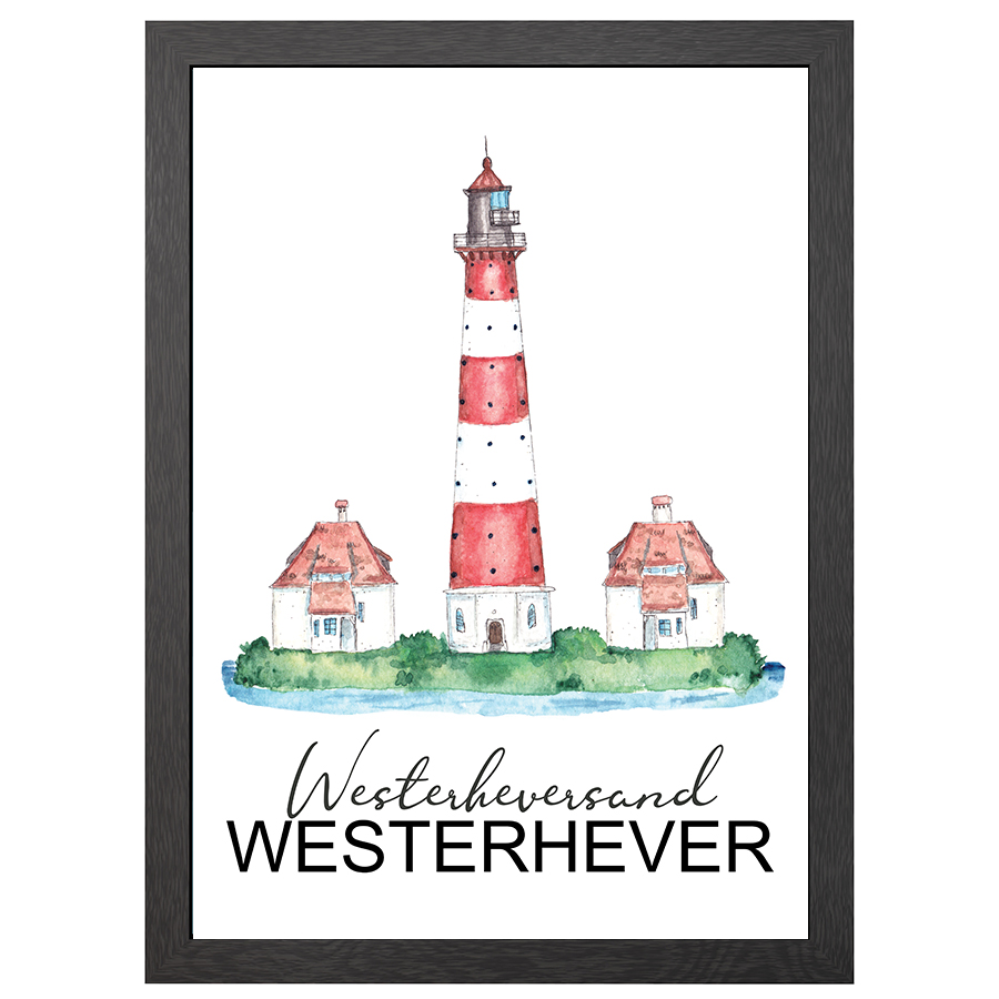 A2 POSTER WESTERHEVERSAND LIGHTHOUSE IN FRAME