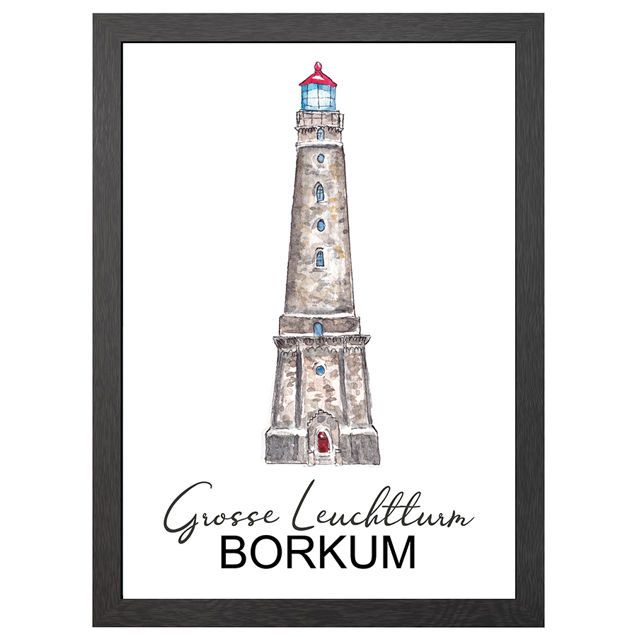 A2 POSTER BORKUM LIGHTHOUSE IN FRAME
