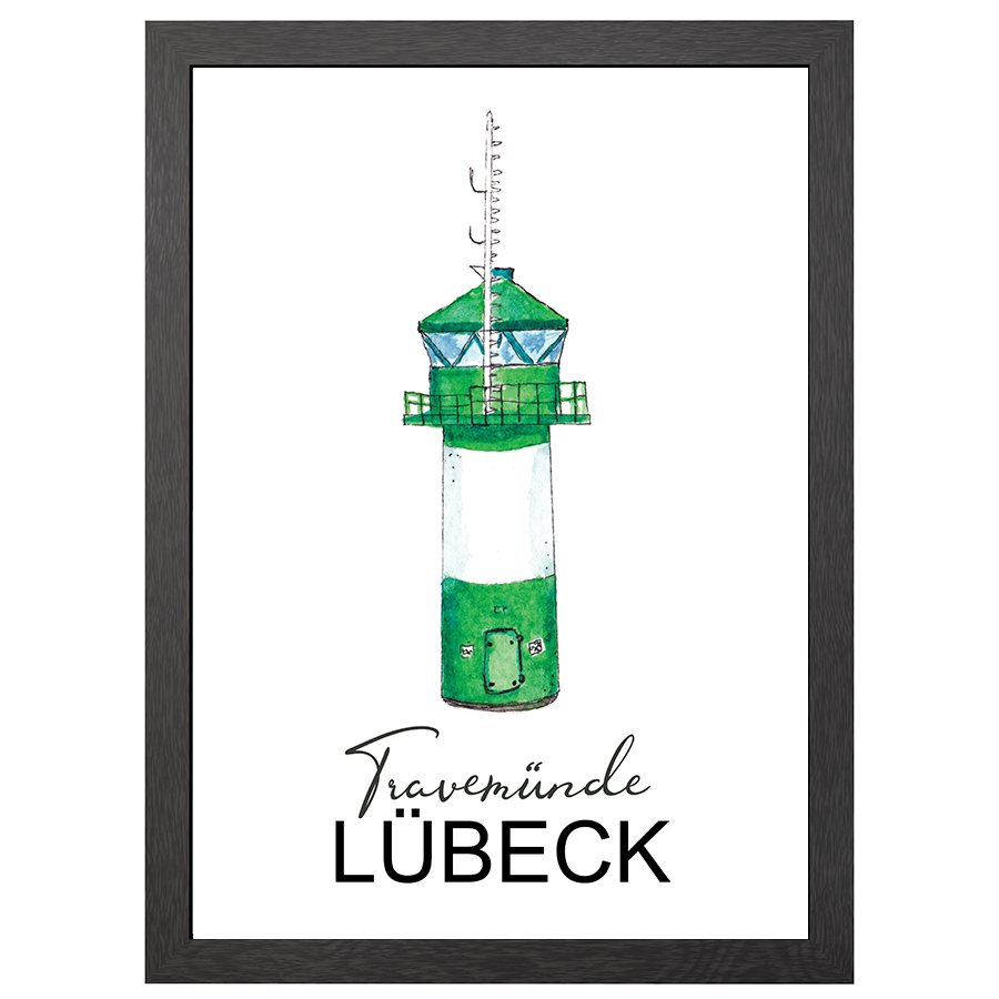 A2 POSTER TRAVEMUNDE LIGHTHOUSE IN FRAME