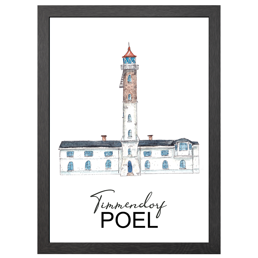 A2 POSTER TIMMENDORF LIGHTHOUSE IN FRAME