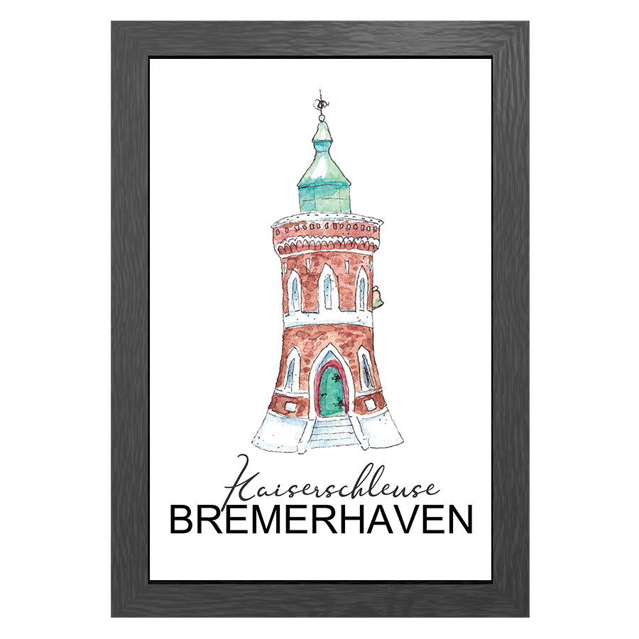 A3 POSTER KAISER SCHLEUSE LIGHTHOUSE IN FRAME