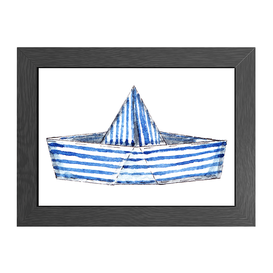 A4 POSTER STRIPED BOAT IN FRAME
