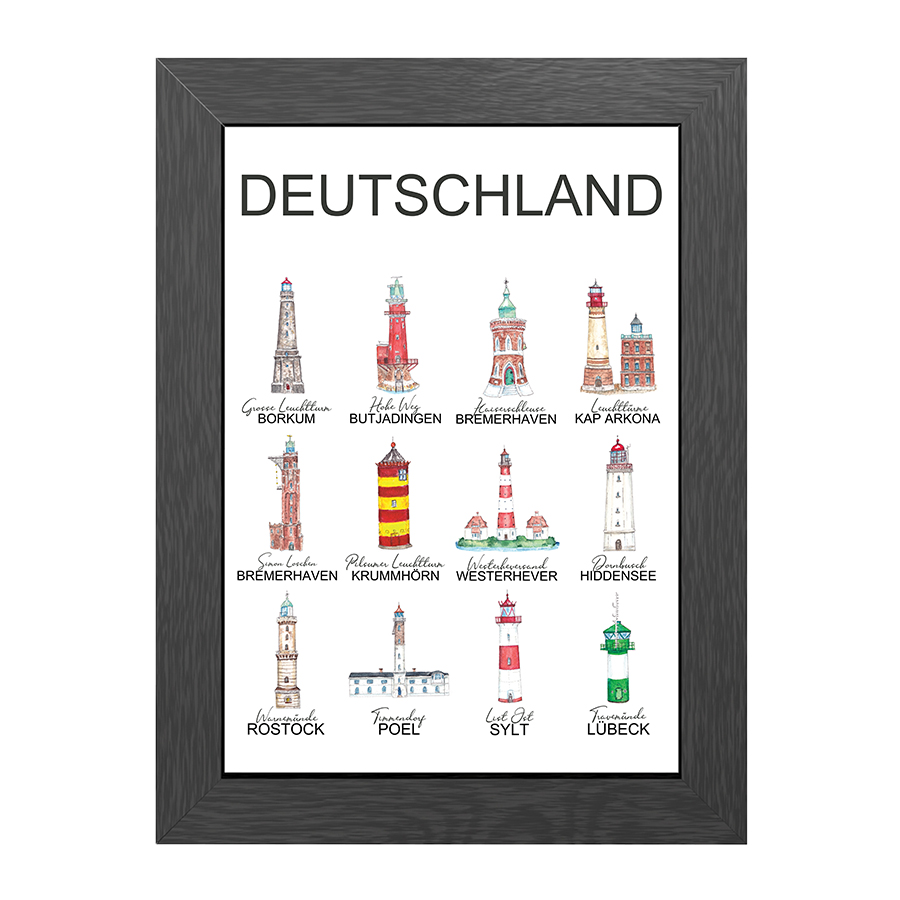 A4 POSTER GERMAN LIGHTHOUSES IN FRAME
