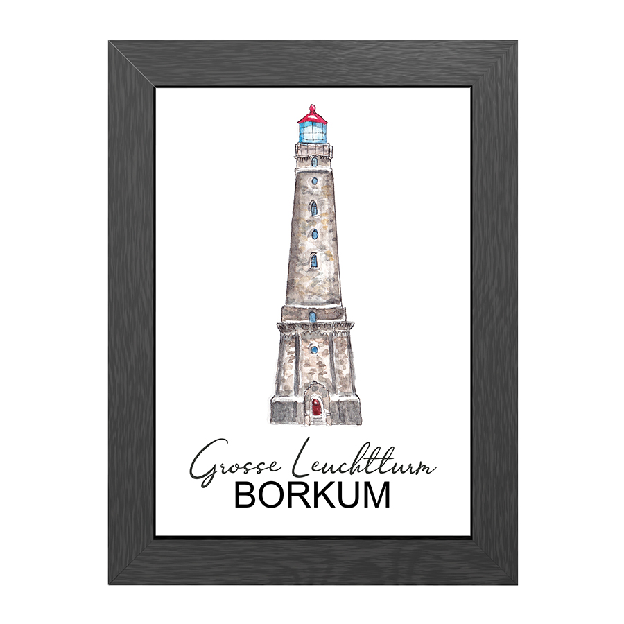 A4 POSTER BORKUM LIGHTHOUSE